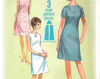 Vintage 1967 Simplicity 7072 One Piece A-Line Dress Sewing Pattern Size 10 Bust 31""