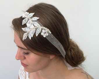 Bridal Lace Headband, Rhinestone Embroidered Lace Wedding Hairband, Bridal Headpiece, Beadwork, Fast Delivery