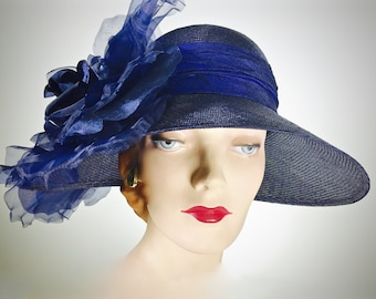 Navy Blue Kentucky Derby Straw Women's Hat Navy Summer Cloche