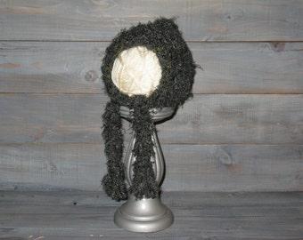 Newborn Green Crochet Pixie Bonnet with braids. photo prop