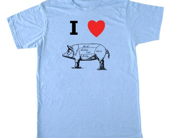 I Heart Butcher Pig shirt, Men's foodie t-shirt, chef t shirt, butcher tshirt, bacon shirt, I love pig shirt paleo crossfit shirt, funny tee