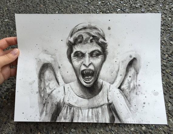 Weeping Angel Painting, ORIGINAL Artwork, Weeping Angel Watercolor, Doctor Who Watercolor Portrait Don't Blink Sci-Fi Dr Who Fan Art 9x12