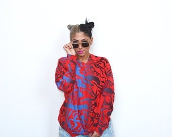 Vintage 80's Saved by the Bell Style Pullover Sweater Sz L