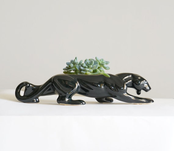 Vintage black panther ceramic figurine planter - Ceramic black panther statue ...