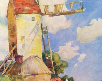 1930s WINDMILL OLDTIME CAR Print Ideal for Framing