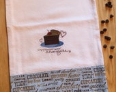 Dish Towel CAKE / DESSERT / CHOCOLATE theme, Embroidered flour sack style