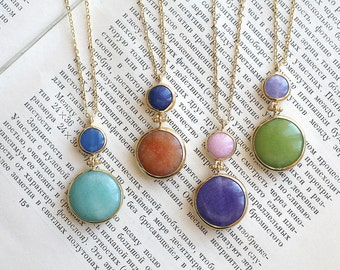 Double Gold Plated Jade Stone Necklace with Chain