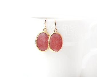 Polished Gold Plated Oval Pink Jade Earrings