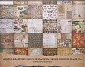 PAPER PAD, Distressed Card Stock, Tim Holtz Collage, Collage Paper, 8 x 8 Paper Pad, Vintage Card Stock, Ideaology Paper, Vintage Paper