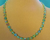 "Pretty 18"" Aqua Milliflori Glass Necklace - N351"