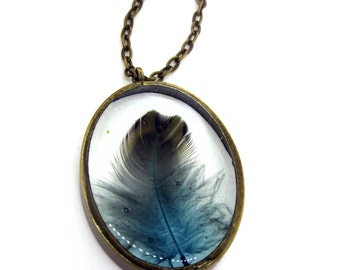 Teal Feather Resin Pendant Necklace - Real turquoise feather in open back oval bezel - Feather Jewelry - Resin Jewelry - Feather Necklace