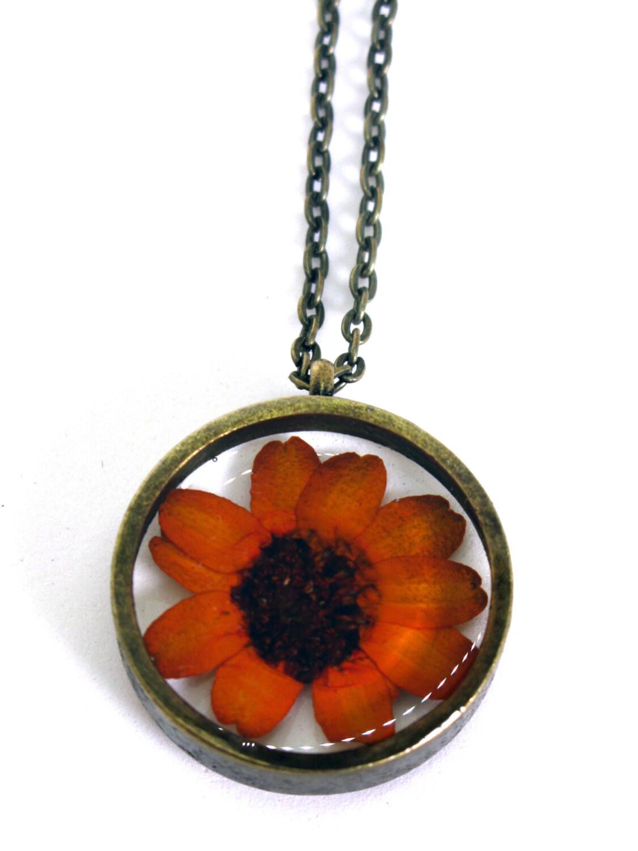 Orange Zinnia Pendant Necklace Real Flower Encased In Resin