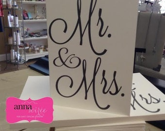 Mr. and Mrs. Thank You Card - SET OF 10  - Personalized as shown OR with Mr. and Mr. or Mrs. and Mrs - use for Shower, Wedding, Engagement