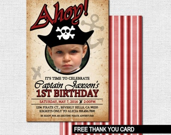 PIRATE BIRTHDAY INVITATIONS (printable files) + Free Thank You Card - Any Age w/ Photo Print Your Own Party Invites