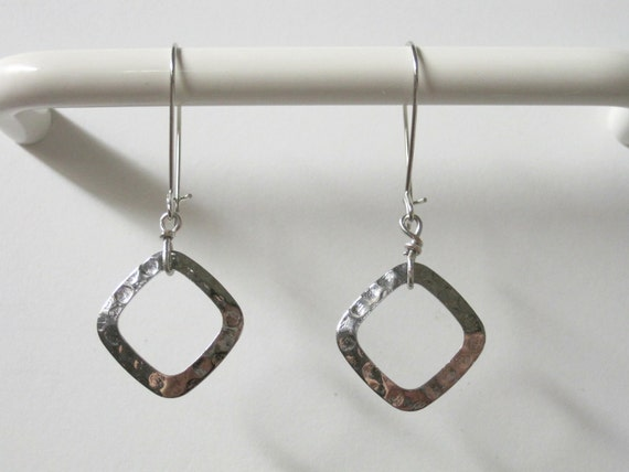 Geometric Modern Art Minimalist Textured Burnished Hammered Dimpled Silver Metal Square Earrings