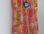 RESERVED Vintage 1960's Bright Floral House Dress - Tags Attached - Size S/M
