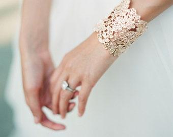 Rose Gold Lace Bridal Cuff Bracelet,  Lace Floral Bridal Cuff Bracelet,  Filigree Cuff Bracelet