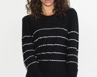 Further REDUCTION was 200 now 100 chic vintage 80's/90's SONIA RYKIEL rhinestone diamante virgin wool knit sweater jumper