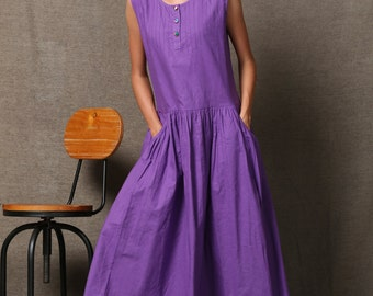 Purple Linen Dress - Loose-Fitting Fit and Flare Sleeveless Womens Dress with Pockets & Pintuck Detail C541