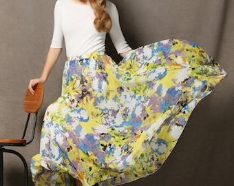 Yellow Chiffon Skirt - Flower Maxi Floaty Sheer Floral Summer Skirt Made-To-Measure Woman's Skirt (C593)