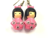 Kawaii Japanese Kokeshi Doll Earrings