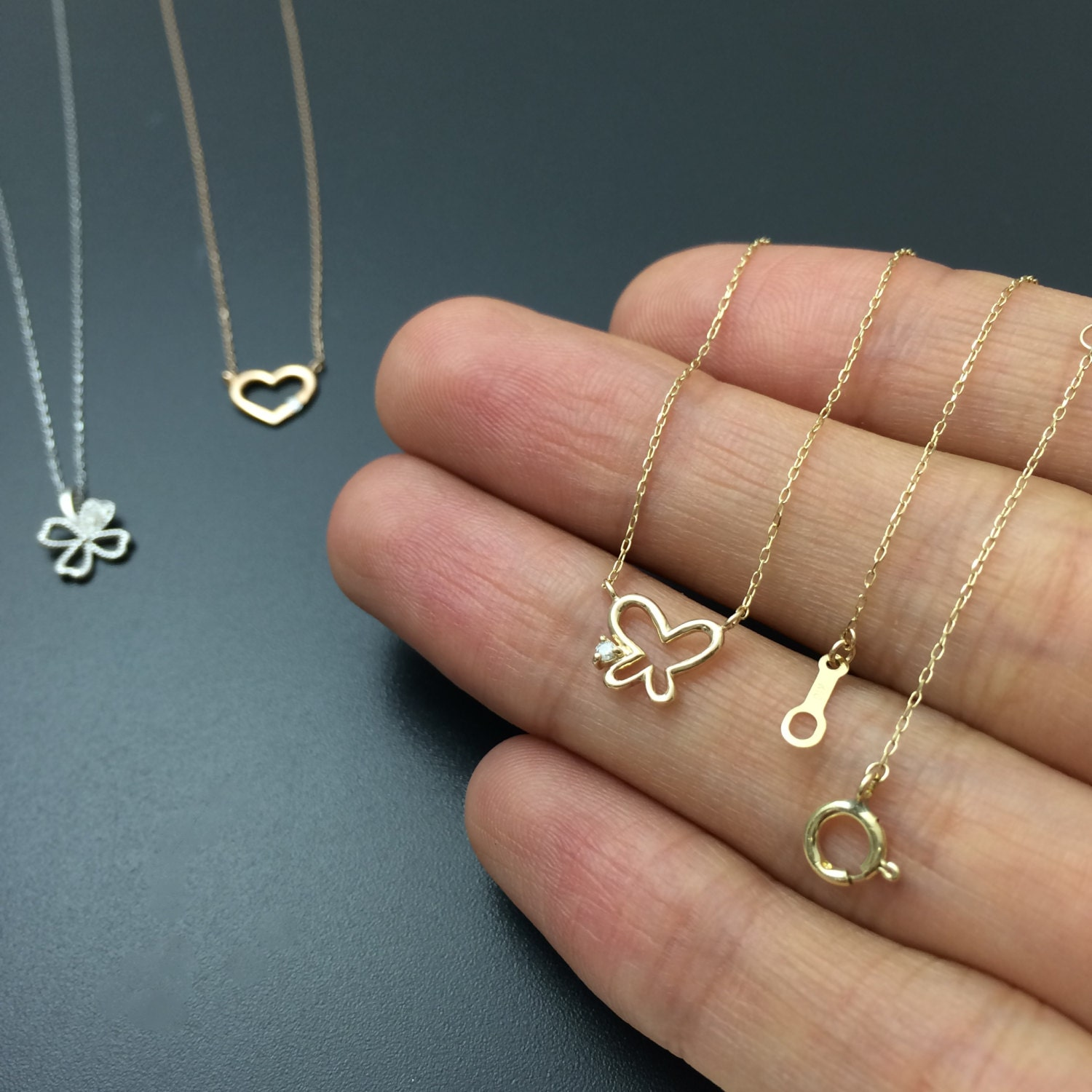 gold butterfly necklace dainty diamond necklace solid gold. Black Bedroom Furniture Sets. Home Design Ideas