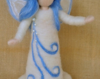 Waldorf inspired standing doll needle felted : Snow Queen