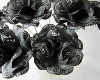 60th Birthday Decoration or Gift 1957 Vintage Birthday Black Paper Roses with Personalized Print 1 dozen 2.5 inch Roses with Stems