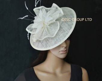 Cream ivory big sinamay fascinator for Royal Ascot Derby Kentucky Melbourne cup Wedding.