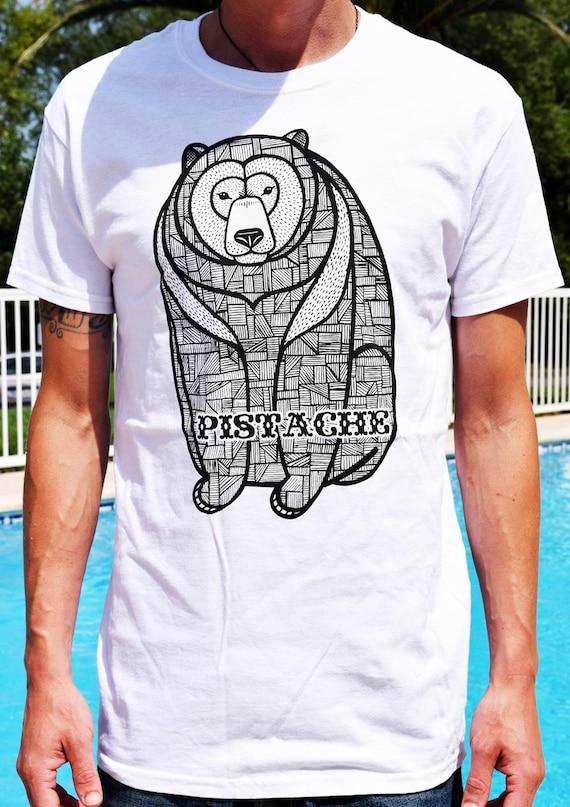 Items similar to bear t shirt mens boys top white tattoo for Tribal tattoo shirt