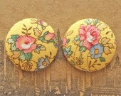 Button Earrings / Fabric Covered / Wholesale Jewelry / Yellow / Sensitive Ears / Made in Brooklyn / Gifts for Her / Vintage Inspired