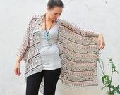 Kimono: Pink and Purple Tribal Doll Print Light Weight Kimono Beach Cover Up