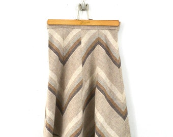 Chevron Skirt Pleated Skirt Hippy Skirt Hippie Skirt Boho Skirt Short Skirt Brown Skirt 70s Skirt Chevron Print X Small