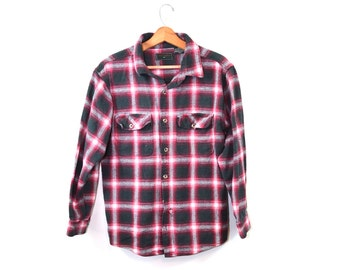 Vintage Flannel Shirt Plaid Shirt Red Flannel Shirt Red Plaid Shirt Flannel Shirt Field and Stream shirt Red Flannel Shirts Size Medium