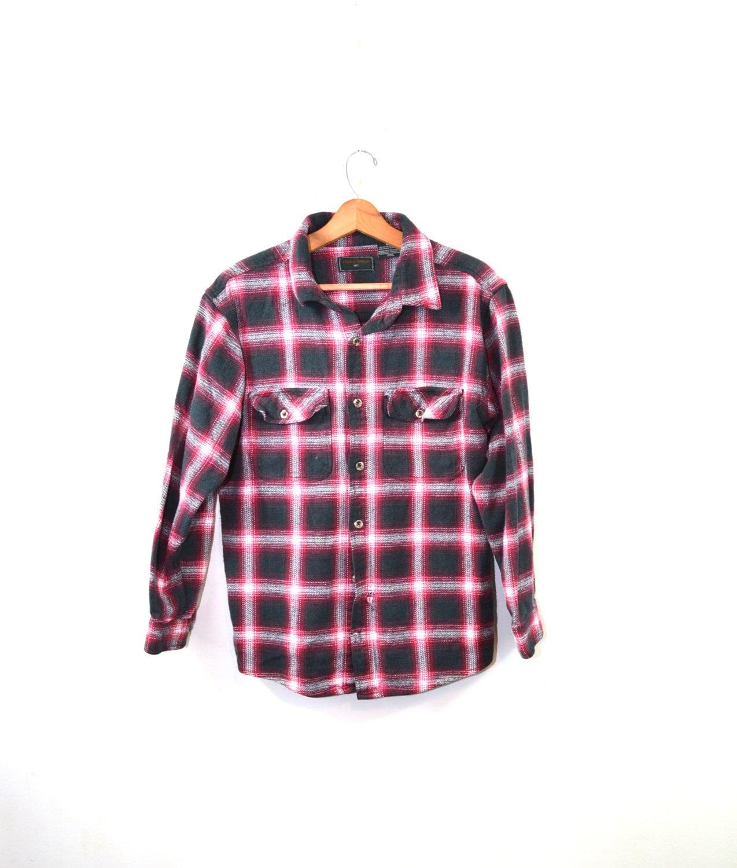 Vintage flannel shirt plaid shirt red flannel shirt red plaid for Red black and white flannel shirt