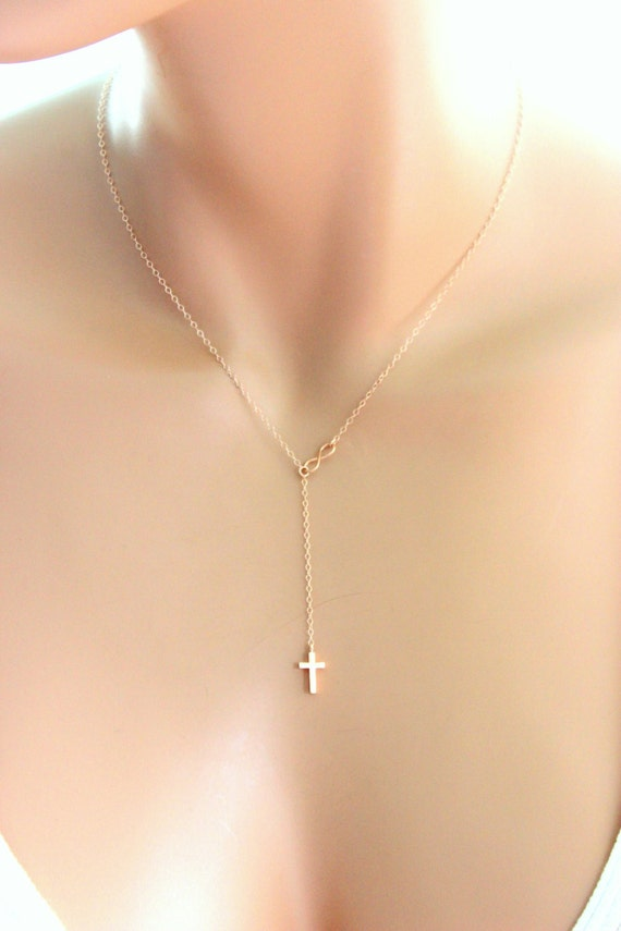 Tiny Rose Gold Cross Infinity Necklace Gold Filled Small
