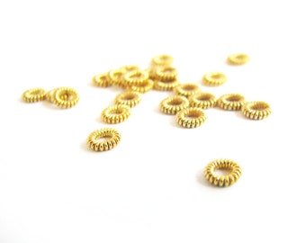 SALE Vermeil Coil Spacers 10 pcs Very Pretty 4.8mm SP212 small coiled donut heishi bead spacers