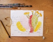 Cactus Watercolor Original Painting on Sketchbook Page Fine Art Desert Southwest Sonoran Prickly Pear Rainbow Arizona New Mexico