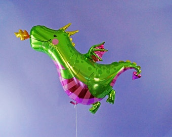 FREE SHIPPING Magic Dragon birthday mylar foil balloon