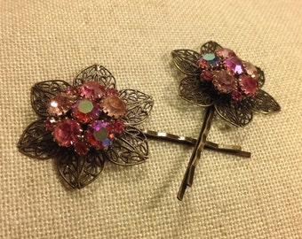 PRICED TO SELL Vintage Pink Aurora Borealis Bridal Large Pair of Hair Bobby Pins - Etsy andersonhs