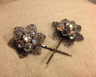 PRICED TO SELL Vintage Aurora Borealis Bridal Large Pair of Hair Bobby Pins - Etsy andersonhs
