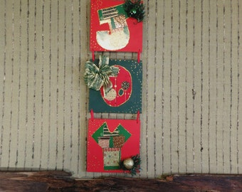 Christmas Decoration, Joy Christmas Wall Plaque, Holiday Christmas Garland Wall Decor, Christmas Gift