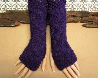 Purple Fingerless Gloves, Wrist Warmers, Cabled Arm Warmers, Womens Chunky Knitted Gloves, Australia, Nchanted Gifts