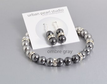 Gray Pearl Earrings Bracelet, Ombre Pearl Bridesmaids Bracelet 4 Shades of Grey Swarovski Bridesmaid Jewelry