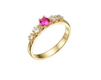 Unique engagement ring, pink tourmaline engagement ring, 14k gold diamond ring, gold and diamond ring, 14k gold engagement ring