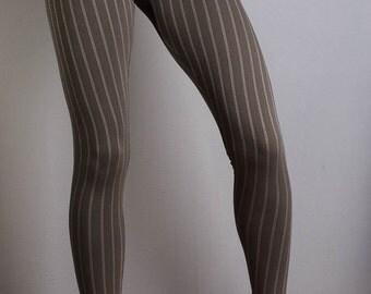 Brown Pinstripe Leggings