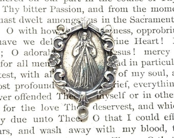 Divine Mercy Rosary Center - Bronze & Sterling Silver - Rosary Parts - Sterling Silver Rosary Parts (R-1292)
