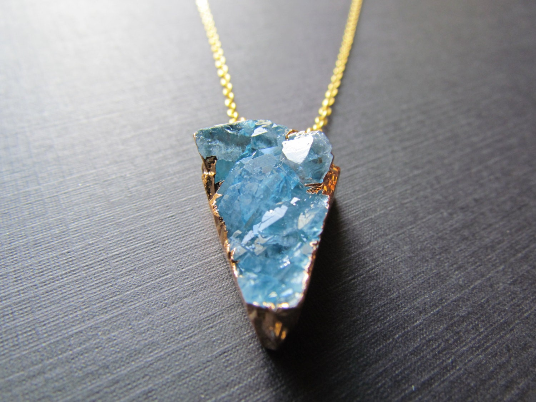 blue quartz necklace quartz necklace blue gemstone pendant