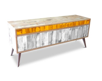 Retro Modern Mid Century Industrial Recycled Shabby Chic Country Farmhouse Sideboard / Buffet / Entertainment Unit - Orange & White