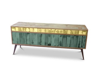 Retro Modern Mid Century Industrial Recycled Shabby Chic Country Farmhouse Sideboard / Buffet / Entertainment Unit - Yellow & Green